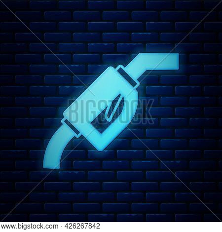 Glowing Neon Gasoline Pump Nozzle Icon Isolated On Brick Wall Background. Fuel Pump Petrol Station.