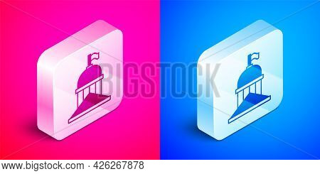Isometric White House Icon Isolated On Pink And Blue Background. Washington Dc. Silver Square Button