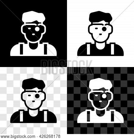Set Jeweler Man Icon Isolated On Black And White, Transparent Background. Vector