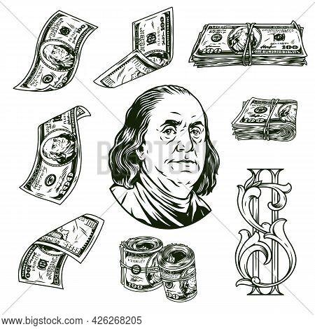 Money Elements Vintage Monochrome Concept With One Hundred Dollar Banknotes Elegant Dollar Symbol An