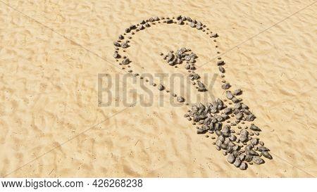 Concept conceptual stones on beach sand handmade symbol shape, golden sandy background, lightbulb sign. 3d illustration metaphor for inspiration, brainstorming, invention, energy-saving, electricity