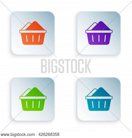 Color Plastic Basin With Soap Suds Icon Isolated On White Background. Bowl With Water. Washing Cloth