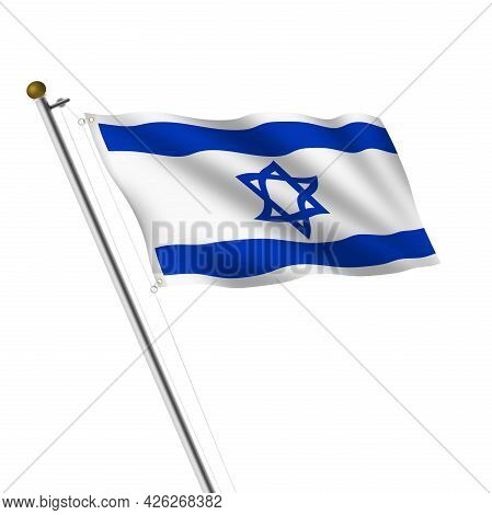 Israel Flagpole 3d Illustration On White With Clipping Path