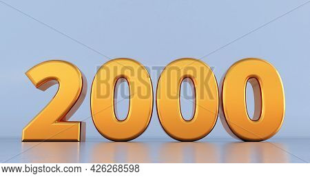 3d Render Of Golden Number 2000 On White Background. Gold Two Thousand