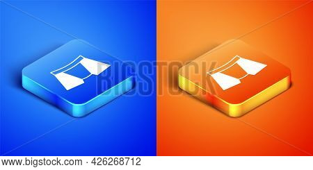 Isometric Men Underpants Icon Isolated On Blue And Orange Background. Man Underwear. Square Button.