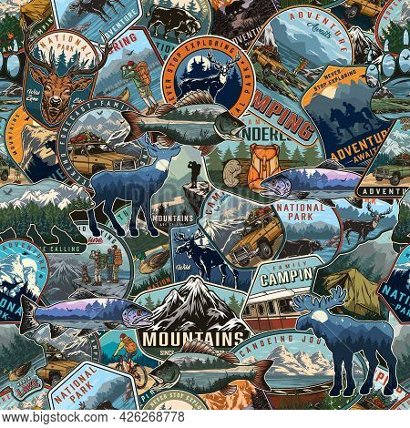 Outdoor Recreation Vintage Seamless Pattern Consists Of Camping Summer Recreation And National Park