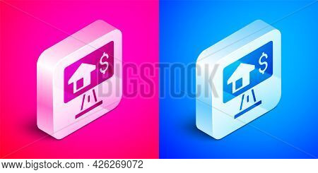 Isometric Online Real Estate House In Browser Icon Isolated On Pink And Blue Background. Home Loan C