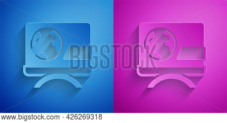 Paper Cut Breaking News Icon Isolated On Blue And Purple Background. News On Television. News Anchor