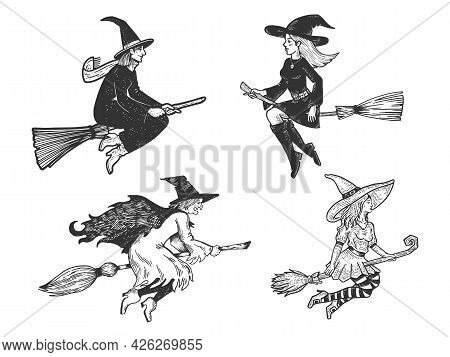 Witch Fly On A Broom Collection Set Line Art Sketch Engraving Vector Illustration. T-shirt Apparel P