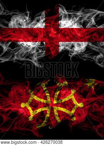 Flag Of England, English And Occitania Countries With Smoky Effect
