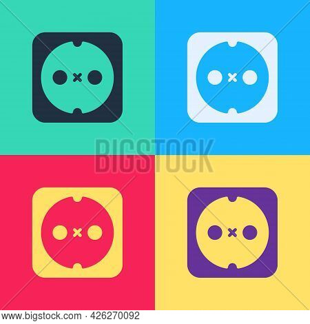 Pop Art Electrical Outlet Icon Isolated On Color Background. Power Socket. Rosette Symbol. Vector