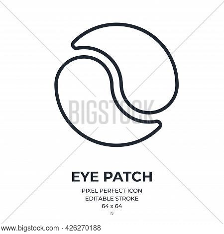 Under Eye Patches Editable Stroke Outline Icon Isolated On White Background Flat Vector Illustration