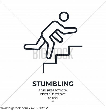 Stumbling Man On Stairs Editable Stroke Outline Icon Isolated On White Background Flat Vector Illust