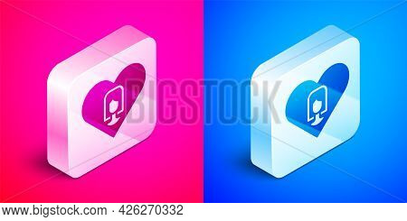 Isometric Heart With Female Icon Isolated On Pink And Blue Background. Venus Symbol. The Symbol For