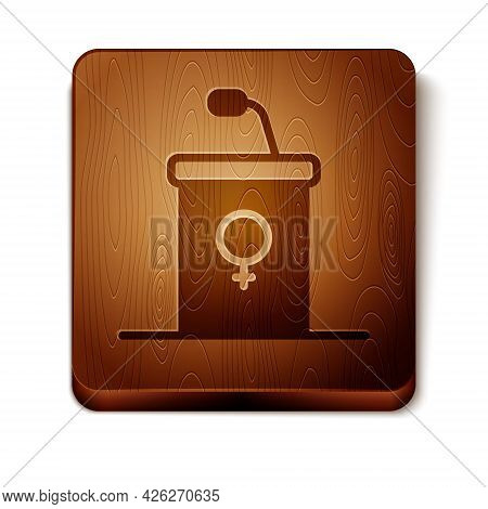 Brown Stage Stand Or Debate Podium Rostrum Icon Isolated On White Background. Conference Speech Trib