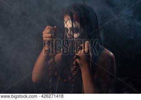Voodoo Queen, Portrait Of A Supernatural Entity Voodoo Queen, Artistic Makeup, Black Background, Low
