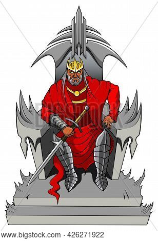 Severe King On The Throne, Isolated, Vector Illustration
