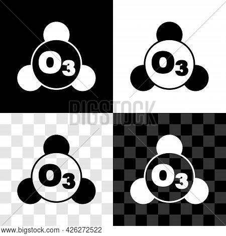 Set Ozone Molecule Icon Isolated On Black And White, Transparent Background. Ozone, O3, Trioxygen, I