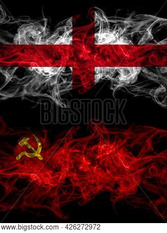 Flag Of England, English And Ussr, Soviet, Russia, Russian, Communism Countries With Smoky Effect