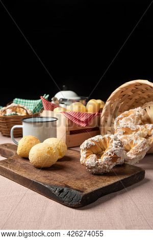 Brazil Cheese Bread And Sweet Biscuit And A Cup Of Coffee On A Table With Beige Tablecloth, Selectiv