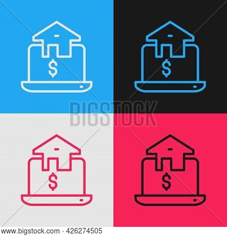 Pop Art Line Online Real Estate House In Browser Icon Isolated On Color Background. Home Loan Concep