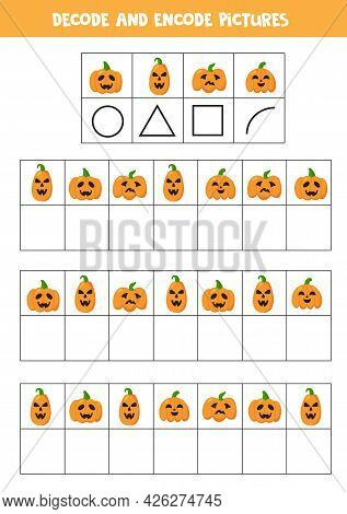 Decode And Encode Pictures. Logical Game With Halloween Pumpkins.