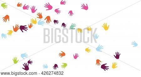 Cheerful Kids Handprints Nursery Games Concept Background Design.