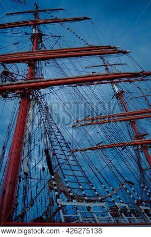 Boat Mast And Rigging By Dramatic Cloudy Day. Fête De La Rivière, Bordeaux, France