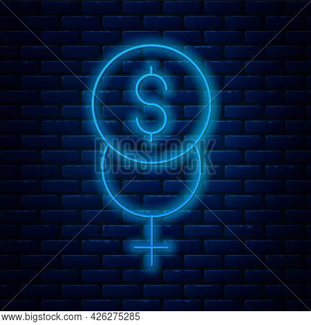 Glowing Neon Line Feminism Finance Icon Isolated On Brick Wall Background. Fight For Freedom, Indepe
