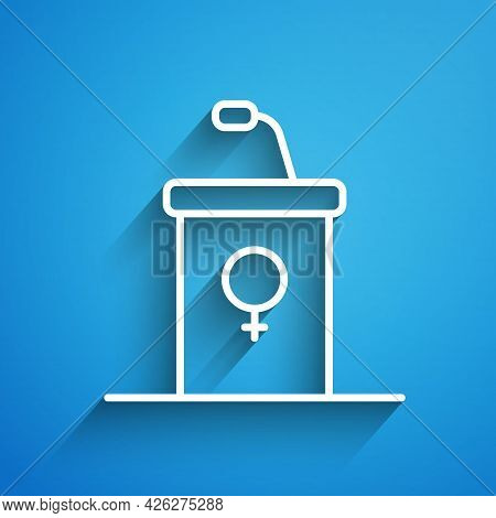 White Line Stage Stand Or Debate Podium Rostrum Icon Isolated On Blue Background. Conference Speech
