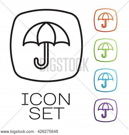 Black Line Delivery Package With Umbrella Symbol Icon Isolated On White Background. Parcel Cardboard