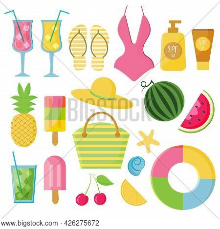Vector Summertime Set With Summer Items: Watermelon, Swimsuit, Beach Bag, Flip Flops, Cocktails And
