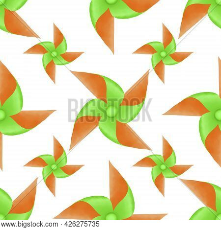 Drawing Green And Orange Color Blades Of Paper Turbines Illustration, Colorful Blades Seamless Patte