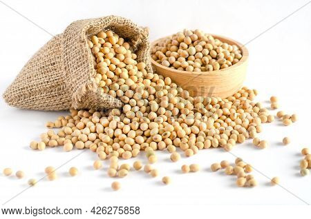 Dry Organic Soybean Seed Pile In Sack Bag And Wooden Bowl On White Background