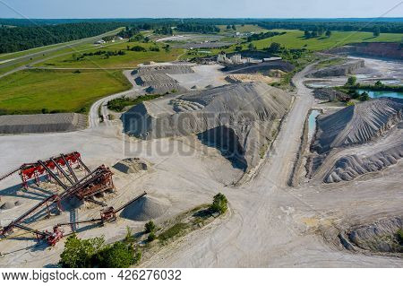 Panorama View Open Pit Mine, Breed Sorting Mining Extractive Industry On Quarry Stones Scattering