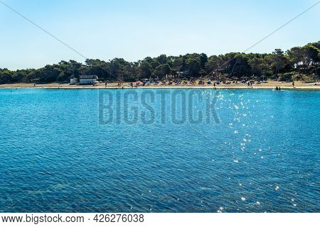 General View Of The Beach Of The Majorcan Town Of Colonia De Sant Jordi At Sunrise