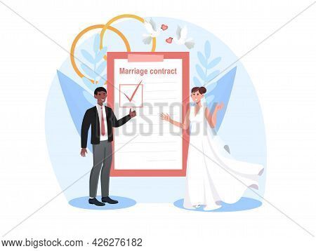 Smiling Bride And Groom Are Signing Marriage Contract Together. Happy Couple Getting Married And Sig