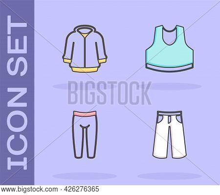 Set Pants, Hoodie, Leggings And Undershirt Icon. Vector