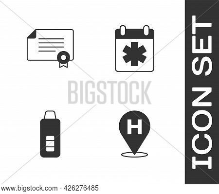 Set Location Hospital, Certificate Template, Digital Thermometer And Doctor Appointment Icon. Vector