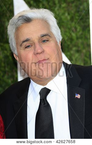 WEST HOLLYWOOD, CA - FEB 24: Jay Leno at the Vanity Fair Oscar Party at Sunset Tower on February 24, 2013 in West Hollywood, California