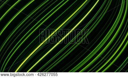 Bright Curved Lines Move Horizontally. Animation. Neon Diagonal Lines Move Horizontally On Black Bac