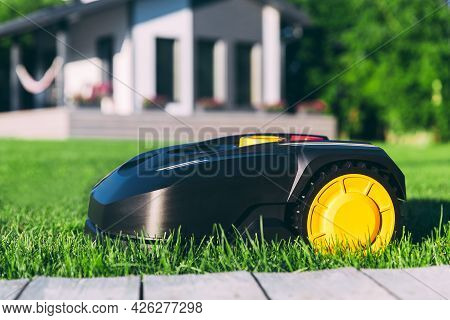 Robotic Lawn Mower Cutting Grass In The Garden. Automatic Robot Lawnmower In Modern Garden On Sunny
