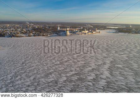 Frozen Siverskoye Lake And Kirillo-belozersky Monastery In Winter Landscape (aerial Photography). Ki