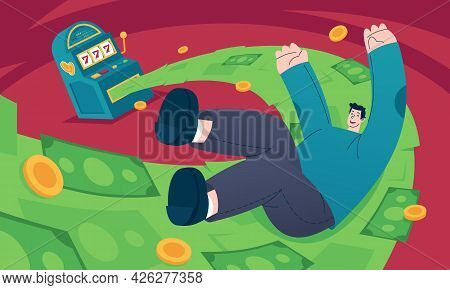 Jackpot Flat Vector Illustration Depicts A Lucky Young Man