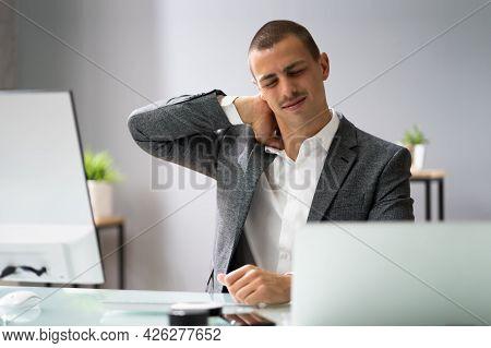 Shoulder Pain In Computer Chair. Ergonomic Posture