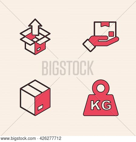 Set Weight, Unboxing, Delivery Hand With And Carton Cardboard Icon. Vector