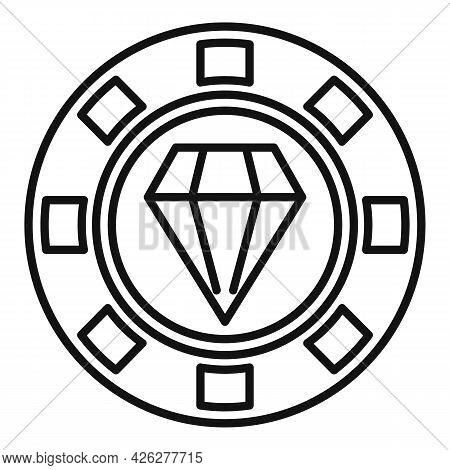 Diamond Token Icon Outline Vector. Badge Quality. Special Prize Reward
