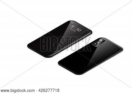 Illustration Isometric Smart Phone With Mirror Reflection Isolated On White Background Mock Up Phone