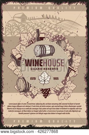 Vintage Winery Poster With Wooden Barrel Wineglasses Bottles Of Wine Bunch Of Grapes Corkscrew On Vi