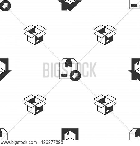 Set Home Delivery Services, Carton Cardboard Box And Unboxing On Seamless Pattern. Vector